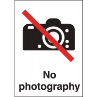No Photography' Sign with Large Symbol in Rigid Plastic or Vinyl