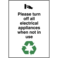 Environmentally Friendly Turn Off Electrical Appliances Not In Use Sign
