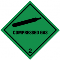 Easy to Apply Compressed Gas 2 Hazard Warning Diamonds on a Roll
