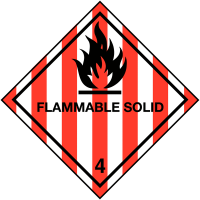 Self-adhesive hazard warning diamond - Flammable Solid, Class 4