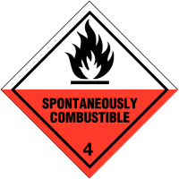 "Self-adhesive ""spontaneously combustible"" and ""4"" hazard warning diamonds"