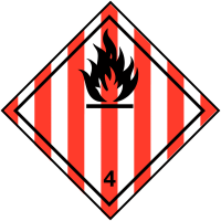 Self-Adhesive Hazard Warning Diamond - Flame Symbol and 4