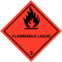 Self-Adhesive Hazard Warning Diamond - Flammable Liquid (3)
