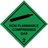 Regulatory, self-adhesive, Non-Flammable Compressed Gas/2 Hazard Warning Diamond