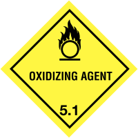 Convenient warning diamond for use on hazardous substance containers