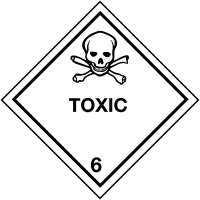 Self-Adhesive Toxic (Class 6) - Hazard Warning Diamond Labels