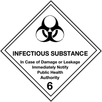 Self-Adhesive Infectious Substance 6 Hazard Warning Diamond