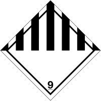 Black and White & 9 Hazard Warning Diamond Vinyl Label