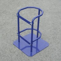 Secure blue cylinder stand with hinge latch