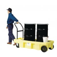 Safe drum transporting Enpac poly spill cart
