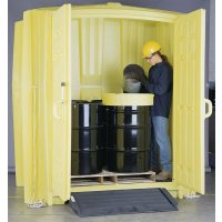 Secure corrosion-free polyethylene drum storage hut