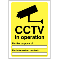 Double sided, easily viewed Purpose & Contact Information- CCTV In Operation Signs