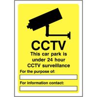 Rigid Plastic Car Park Under 24 Hour CCTV Surveillance Sign