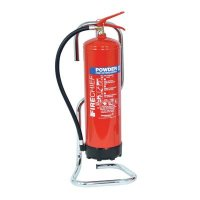 Fire extinguisher stands made from moulded tubular chrome