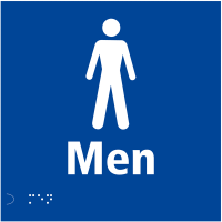 Men's Toilets Braille Sign with Raised Tactile Text and Symbol