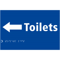 Toilets Direction Arrow Tactile & Braille Visually Impaired Sign
