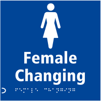 Female Changing Symbol with Tactile Braille Safety Signs