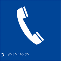 Tactile Braille 'Telephone' Sign with Symbol