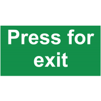 """Braille/tactile """"press for exit"""" sign for the visually impaired"""