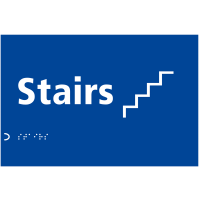Stairs' Sign with Braille and Raised Tactile Letters and Symbol