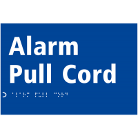 Self-adhesive alarm pull cord sign with tactile and braille print