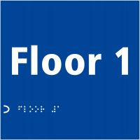 'Floor 1' Tactile Lettering and Braille Safety Sign