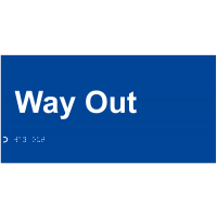 Self-adhesive 'way out' braille and tactile-lettering sign