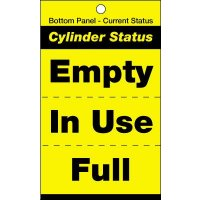 Cylinder status tags for safe cylinder identification