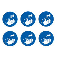 Wash Your Hands Blue Symbol Vinyl Labels on a Sheet