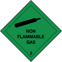 Roll Of 310 Self-Adhesive 'Non Flammable Gas' Hazard Warning Diamonds
