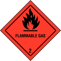 Self-Adhesive Hazard Warning Diamonds - Flammable Gas & 2