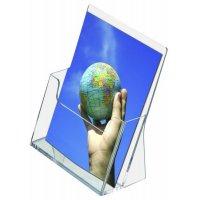 Transparent plastic freestanding leaflet holders