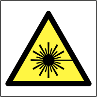 Eco-Friendly 'Beware Laser Beam' Symbol Labels on a Roll