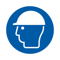 Self-adhesive & eco-friendly roll of safety labels showing wear hard hat symbol