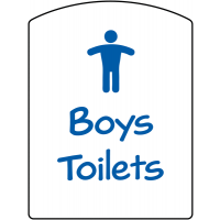 Durable school and education signs for boys' toilets