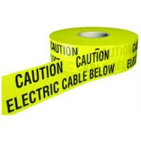 Caution electric cable below tape for necessary underground warning