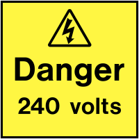 Hard-wearing Danger 240 Volts On-The-Spot Electrical Safety Labels