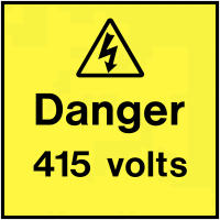 Easy Peel Danger 415 Volts On-The-Spot Electrical Safety Labels