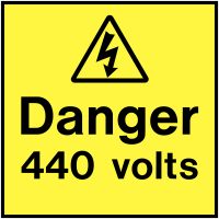 Self-adhesive Vinyl Danger 440 Volts On-The-Spot Electrical Safety Labels