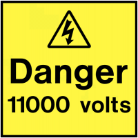Self-adhesive Danger 11000 Volts On-The-Spot Safety Labels