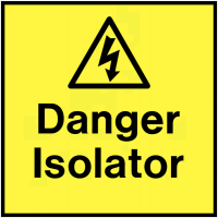 Bright yellow warning labels for electrical isolators