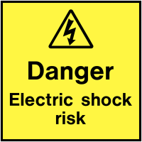 Easy Peel Danger Electric Shock Risk On-The-Spot Labels