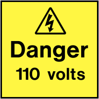 Vinyl Danger 110 Volts On-The-Spot Electrical Safety Labels