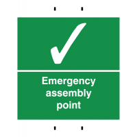 Convenient 'Emergency Assembly Point' Temporary Post Mounted Signs