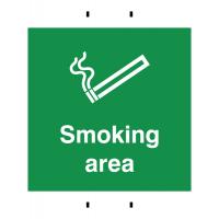 Temporary Reusable Post-Mounted Polypropylene Smoking Area Signs