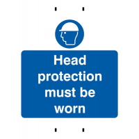 Head Protection Must Be Worn' Temporary Post-Mounted Polypropylene Sign