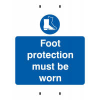 Foot Protection Must Be Worn' Temporary Post-Mounted PPE Sign