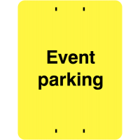 Bright, instructive event parking sign