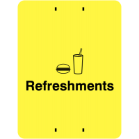 Yellow Polypropylene 'Refreshments' Post-Mountable Sign