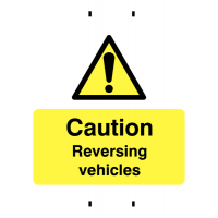 Post-mounted temporary caution vehicles reversing sign